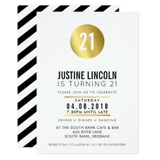 MODERN 21ST birthday party INVITE gold spot black