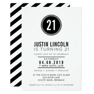 MODERN 21ST birthday party INVITE plain spot black