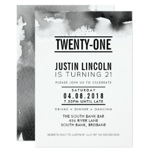 21st birthday invitations zazzle au modern 21st birthday party invite type black filmwisefo