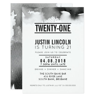 MODERN 21ST birthday party INVITE type black