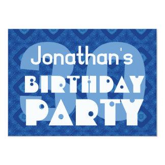 Modern 30th Birthday Party Blue Pattern Invitation