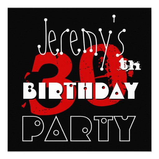Modern 30th Birthday Reb Black White Template Custom Invites