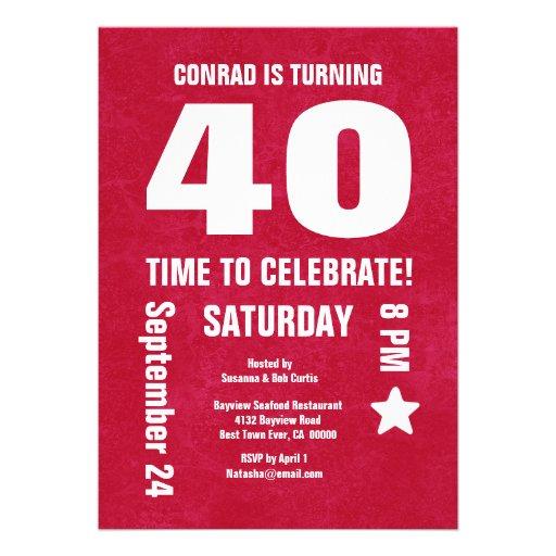 Modern 40th Birthday or Any Year Chevron Back Custom Announcements