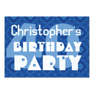 Modern 40th Birthday Party Blue Pattern For Him Card