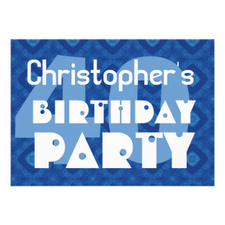 Modern 40th Birthday Party Blue Pattern For Him Announcement