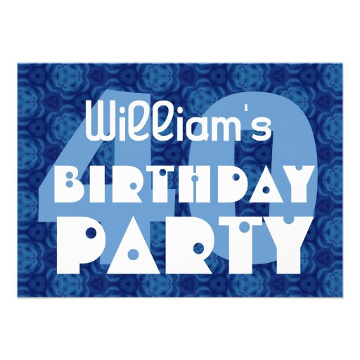 Modern 40th Birthday Party Blue Pattern For Him Invitations