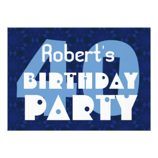 Modern 40th Birthday Party Blue Pattern For Him Invites