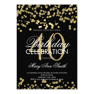 Modern 40th Birthday Party Gold Foil Confetti Card