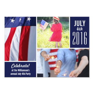 Modern 4th of July Party Your Photos Patriotic Card