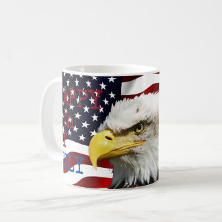 Modern 4th of July US USA Flag American Eagle Coffee Mug