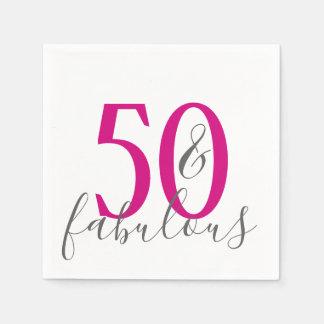 Modern 50 and Fabulous Birthday Party Napkins Disposable Napkin