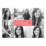 Modern 6 Photo Script Graduation Invite -Neon Pink