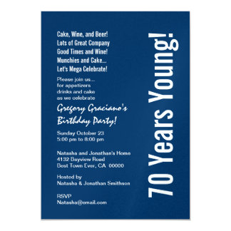 Modern 70 Years Young Party Blue White Red W1500 13 Cm X 18 Cm Invitation Card