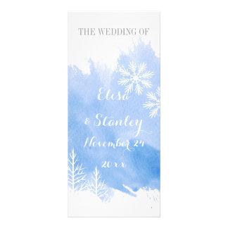 Modern abstrac watercolor blue wedding program rack card