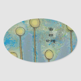 Modern abstract art fun flowers customize your own oval sticker