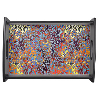 Modern Abstract Art Red Yellow Black Serving Tray