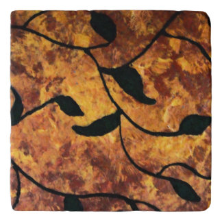 Modern Abstract Autumn Leaf Silhouette Trivet