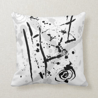 Modern Abstract Black and White Paint Splatter Cushion