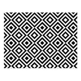 Modern abstract black white geometric pattern postcard