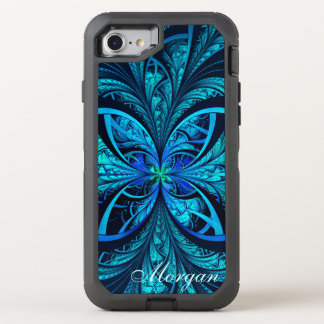 Modern Abstract Blue Green Fractal Name OtterBox Defender iPhone 8/7 Case