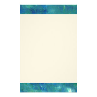 Modern Abstract Blue Green Painting Customized Stationery