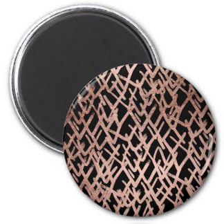 Modern abstract chevron faux rose gold pattern 6 cm round magnet