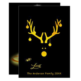 Modern abstract Christmas card reindeer gold black