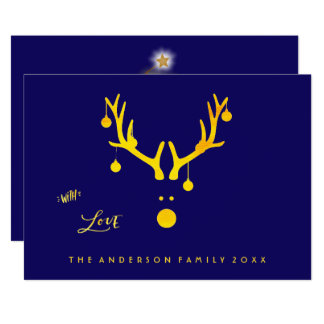 Modern abstract Christmas card reindeer gold blue