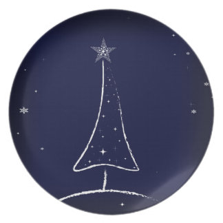 Modern Abstract Christmas Tree Party Plate