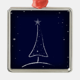 Modern Abstract Christmas Tree Silver-Colored Square Decoration