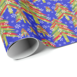 Modern Abstract Christmas Trees Wrapping Paper