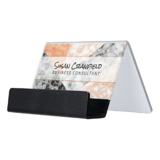Modern Abstract Collage With Coral  Pink Marble Desk Business Card Holder