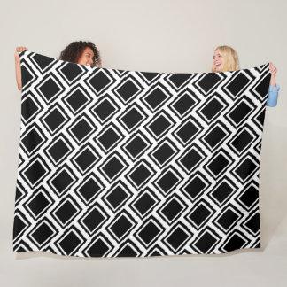 Modern Abstract Color Blocks, Black & White Fleece Blanket