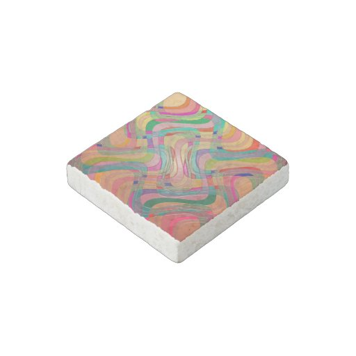 Modern Abstract Colorful Design Stained Glass Look Stone Magnet