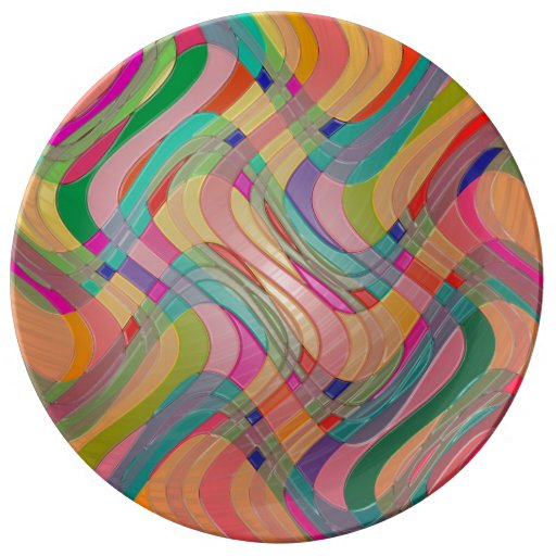 Modern Abstract Colorful Design Stained Glass Look Porcelain Plate