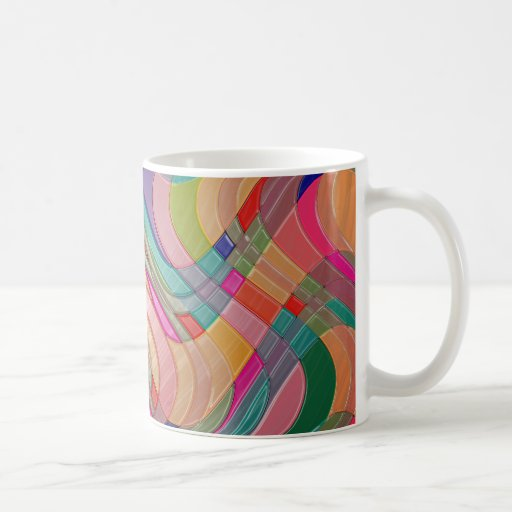 Modern Abstract Colorful Design Stained Glass Look Coffee Mugs