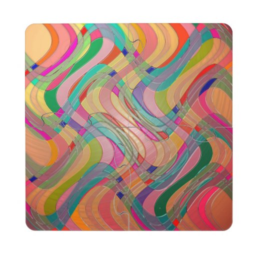 Modern Abstract Colorful Design Stained Glass Look Puzzle Coaster