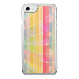 Modern abstract colorful stripes polka dots carved iPhone 7 case