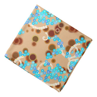 Modern Abstract Confetti Print, Aqua and Brown Bandana