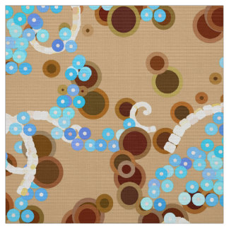 Modern Abstract Confetti Print, Aqua and Brown Fabric