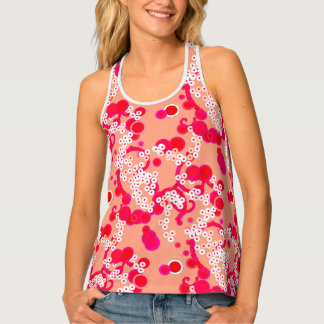 Modern Abstract Confetti Print, Coral and Fuchsia Singlet