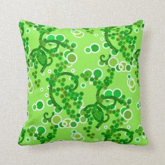 Modern Abstract Confetti Print, Lime Green Cushion
