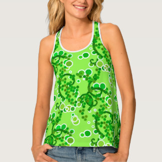 Modern Abstract Confetti Print, Lime Green Singlet