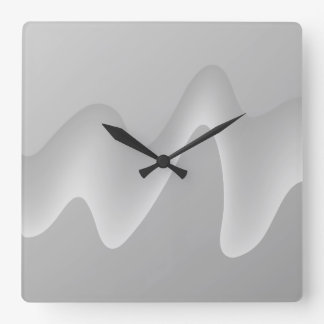 Modern Abstract Design in Light Gray. Square Wall Clock