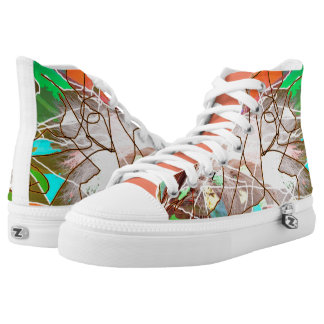 Modern Abstract Design on High Tops Printed Shoes