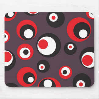Modern Abstract Dots Black and Red Mouse Pad