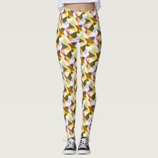 Modern Abstract Earth Tones Geometric Pyramids Leggings