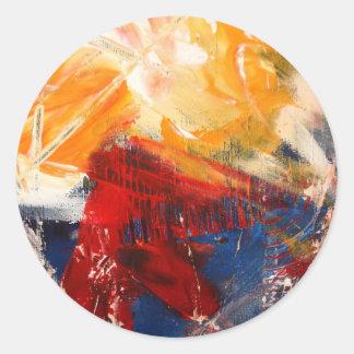 Modern Abstract Expressionism Round Sticker
