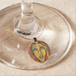 Modern Abstract Face Wine Charm