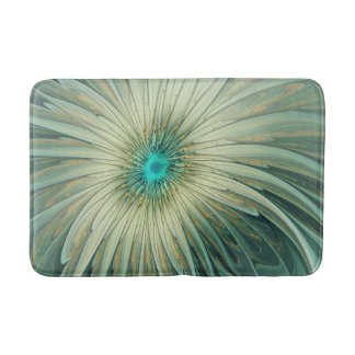 Modern Abstract Fantasy Flower Turquoise Wheat Bath Mat